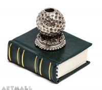 Metal decorated penstand on book reproduction. GOLF BALL