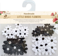 Jewelled Florettes White & Black 50Pc