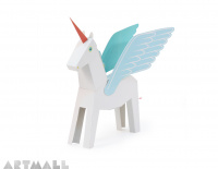 "Paper Toy ""White Pegacorn"", size: 24 cm high x 29 cm long."