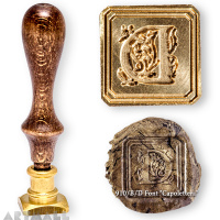 "Square seal - D - ""Capolettera"" with wooden handle"
