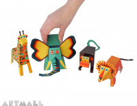 Jungle Animals Paper Toys, size: 7,5 cm to 18 cm high x 10 cm to 18 cm long.