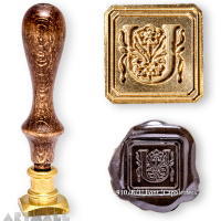 "Square seal - U - ""Capolettera"" with wooden handle"
