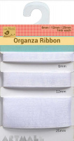 Organza Ribbon W 6/12/25mm White 1mtr Each x 3mtr