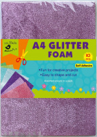 A4 Glitter Foam Self Adhesive pack 10 pcs assoted colours