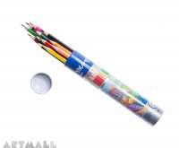 830043- 12 color pencils in metal cylinder