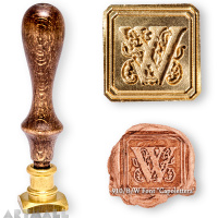 "Square seal - W - ""Capolettera"" with wooden handle"