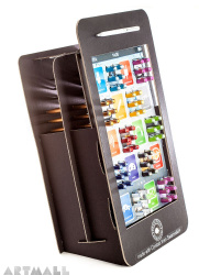 """Display """"Mobile Phone"""" with pens decorated by Swarovsky crystal."""