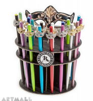 Display 30(20+10) ballpens 16 cm, with decorative mask, original Swarovski on top of the pen