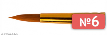 Round brush, short length-out, synthetic Teijin №6