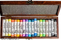 Wooden coffer, 19 assorted Soft Pastels