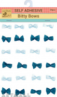 Self Adhesive Bitty Bow Dark Green With White 24Pc