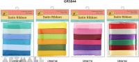 Satin Ribbon 12mm x 12mtr, 4 types assorted