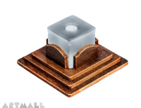 Carton simil wood base with white glass pen stand