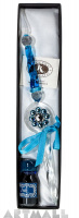 Glass pen blue color decorated original Swarovski with ink 10cc