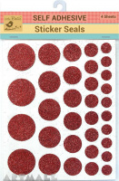 Self Adhesive Glitter Dots Red 4sheet