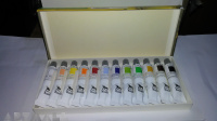 Colours wooden coffer 10 assorted tubes 20 ml + brush