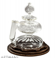 Blowen glass inkwell with pen stand.on simil wood carton base cm 9.4x10h