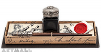 Writing gift set. Wooden nibholder, 5 nibs, ink 25cc