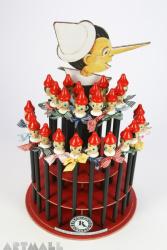 "Display ""Pinocchio"" with pencils decorateb by Swarovsky Crystal, 24 pencils"