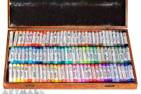 Wooden coffer, 99 assorted Soft Pastels