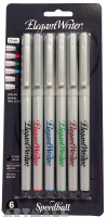Elegant Writer. 6 Pen Broad Carded. Assorted Colors