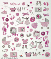 "Stickers ""Welcome Baby Girl"""