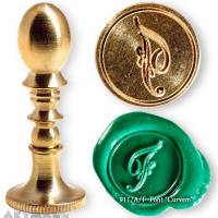 "Round seal 18 mm initial ""Curvem"" w/brass handle ""F"""