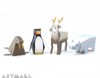 "Paper Toys ""Ice Animals"", size: 9 cm to 11 cm high x 7 cm to 22 cm long."