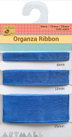 Organza Ribbon W 6/12/25mm 1mtr Each Blue