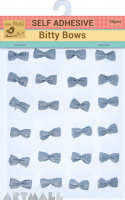 Self Adhesive Bitty Bow Siliver 24Pc