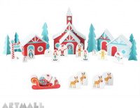 Christmas paper Village, Santa's Paper House stands 5″ wide x 7″ high x 3″ deep.