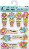 Potted Floral Embellishments 10Pc