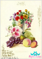 Vase with fruits and flowers №2