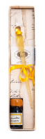 Gift set; glass pen, and ink bottle 10 cc (ml). Color Yellow