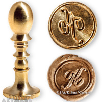 "Round seal 18 mm initial ""Curvem"" w/brass handle ""K"""