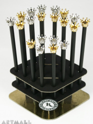 Pencils with decorative crowns, original Swarovski on the top of pencil