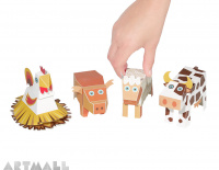 Farm Animals Paper Toys, size: 10 cm to 18 cm high x 13 cm to 25 cm long.