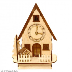 3D wooden puzzle - house with clock