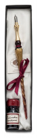 Gift Calligraphy Set, Bordeaux glass pen with metal cut nib & 10cc ink