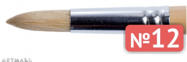 Round brush, bristel, long varnished handle №12