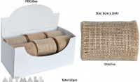 Burlap Ribbon Roll 6cm X 2mtr Natural 1pc