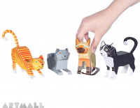 Cats Paper Toys, size: 7,5 cm to 11 cm high x 12 cm to 18 cm long.