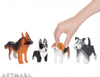 Dogs Paper Toys, size: 10 cm to 14 cm high x 9 cm to 20 cm long.