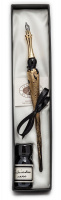 Gift Calligraphy Set, Black glass pen with metal cut nib & 10cc ink