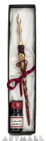 Gift Calligraphy Set, Bordeaux glass pen with metal nib & 10cc ink