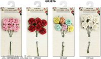 Open Rose Bunch 25 mm, pack of 6 pcs, 4 types assorted