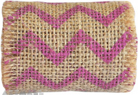 Chevron Printed Burlap Ribbon Roll 6cm X 2mtr Pink 1pc