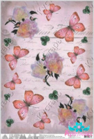 Butterflies and peonies on the handwritten background