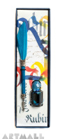 Writing set, Blue quill with pointed metal nib 15 cm & Blue ink 5cc