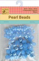 Pearl Beads D/6/8mm Assoted 90Pc Blue